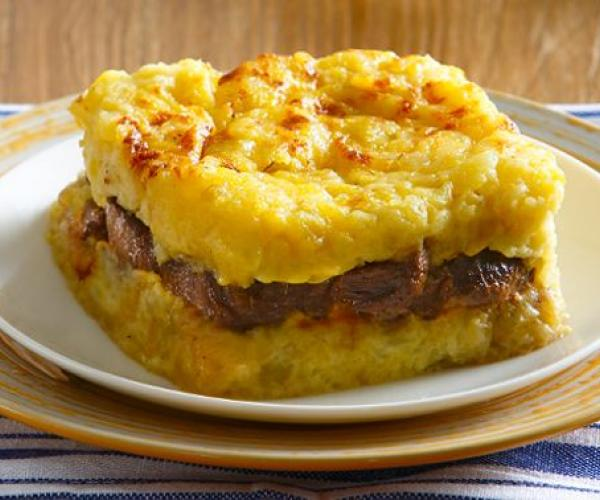 Beef Salpicao with Creamy Mashed Potato Crust
