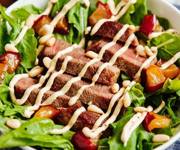 Meaty and Creamy Steak Salad with Horseradish Dressing