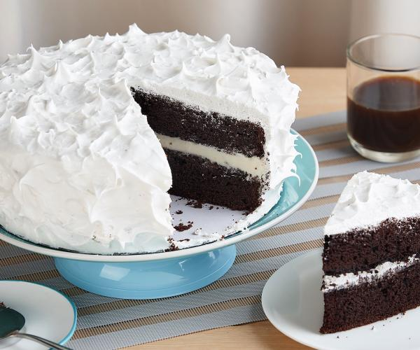Creamy Chocolate Cake with Marshmallow Frosting