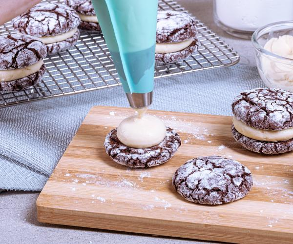 creamy and moist chocolate crinkles with cream cheese filling recipe