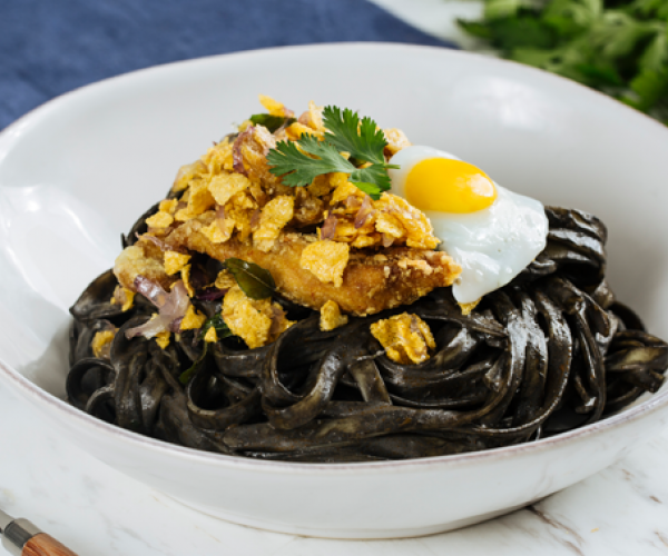 Buttered Cereal Chicken with Creamy Squid Ink Laksa Pasta
