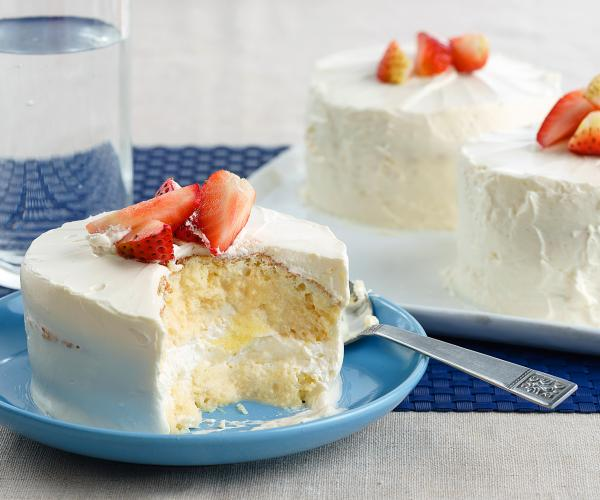 creamy tres leches cake recipe with strawberry