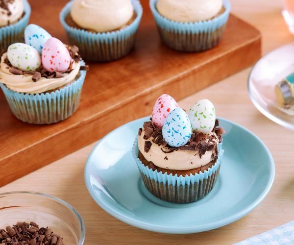 Easter Egg Hunt Banana Cupcake with Peanut Butter Frosting